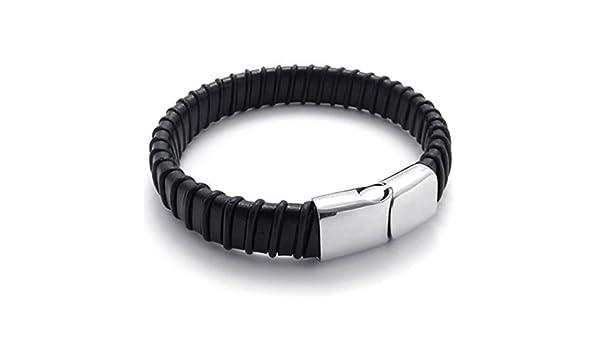 efa943d41 moandy joyas hombre acero inoxidable Enlace Pulsera Negro Plata Longitud 23  cm pulseras pulsera de cadena Amistad Pulseras Partner pulseras: Amazon.es:  ...