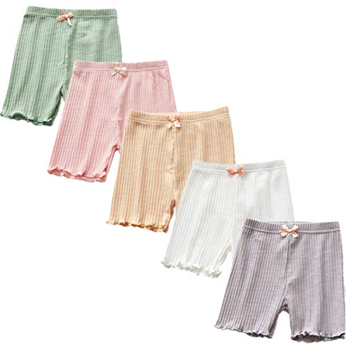 4Pcs Little Girls Toddler Kids Lace Trim Slim Elastic Safety Boyshort Underwear Boxers Briefs Panties (4-6 Years, 5 -