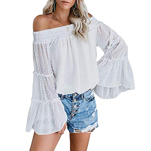 (Off Shoulder Loose Shirt, QIQIU Womens 2019 Sexy Flared Long Bell Sleeve Solid Dot Print Tops Holiday Blouses White)
