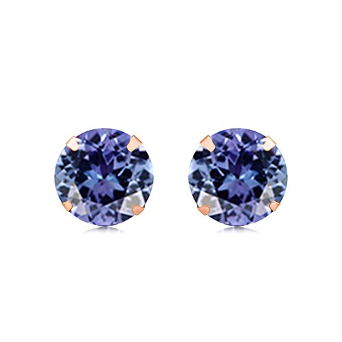 - Round Cut Simulated Tanzanite Stud Earrings In 14K Solid Gold (3.00 Cttw)