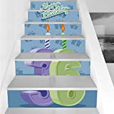 Stair Stickers Wall Stickers,6 PCS Self-adhesive,36th Birthday Decorations,Birthday Party 36 Candles on Baby Blue Backdrop Image,Light Green and Lilac,Stair Riser Decal for Living Room, Hall, Kids Roo