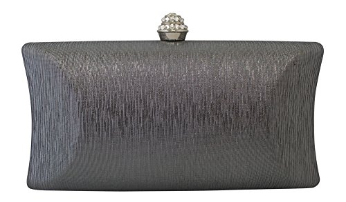 (Chicastic Rhinestone Crystal Clasp Hard Box Wedding Evening Bag Bridal Cocktail Clutch Purse Grey )