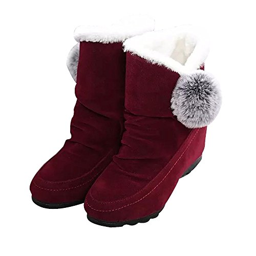 (DongDong Seasonal Offers❣Newest! Casual Faux Fur Flats Ankle Booties-Women's Winter Warm Suede Comfortable Shoes)