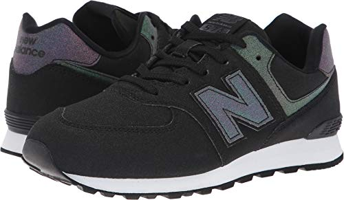 New Balance 574v1 Sneaker, Black/Multi, 7 M US Big Kid