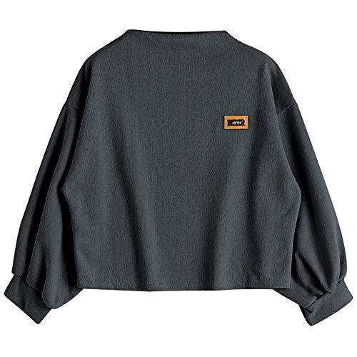 Womens Long Lantern Sleeve Crewneck Loose Pullover Sweater Casual Bat Sleeve Drop Sweatshirt Crop Tops Dark Grey