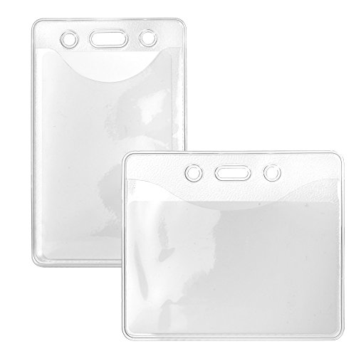 10 x Karteo® Ausweishülle Din A7 Ausweishüllen Kartenhülle Kartenhüllen Ausweishalter Kartenhalter aus Vinyl Plastik transparent für Ausweise Dienstausweise Messen (74 x 105 mm) horizontal