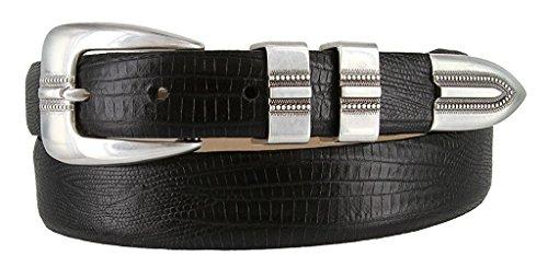 Hagora Women Genuine Italian Calfskin Smooth Embossed Textured Buckle Belt,Lizard Black 44