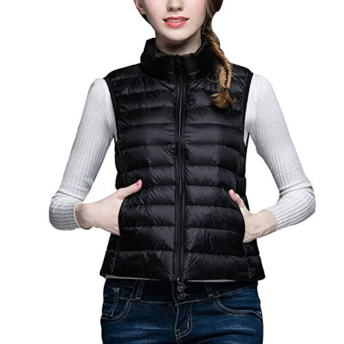 Minghe Women's Stand Collar Packable Ultra Light Down Vest Black 8