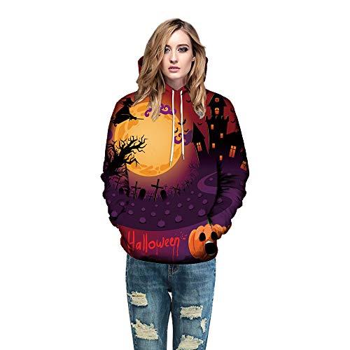 Toimoth Men Women Mode 3D Print Long Sleeve Halloween Couples Hoodies Top Blouse Shirts(Orange,5XL)