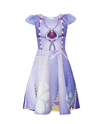 Loel Little Girls Flutter Sleeve Princess Sofia Dress