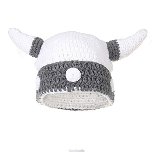 - Ypser Baby Adult Viking Knit Hat Wool Bull Horn Crochet Beanie Cap Handmade Knitted