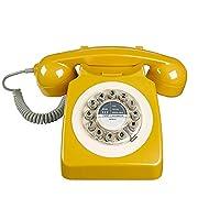 Teléfono fijo retro de diseño rotatorio de madera salvaje para hogar, mostaza inglesa