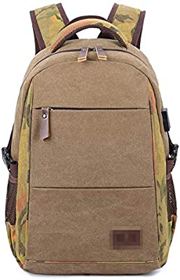 USB Charging 15inch Laptop Backpacks Vintage Canvas Travel Male Mochila Casual Backpack Bags,Khaki