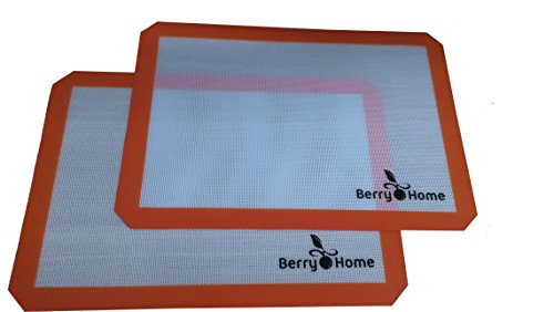 Silicone Baking Mat Parchment Replacement for Baking and Rolling Pizza Dough by Berry Home - 2 Pack by Berry Home