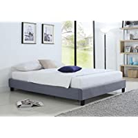 Container Furniture Direct Hadwen Collection Contemporary Transitional Upholstered Linen Fabric Platform Bed with Solid Wood Slats, Queen, Grey