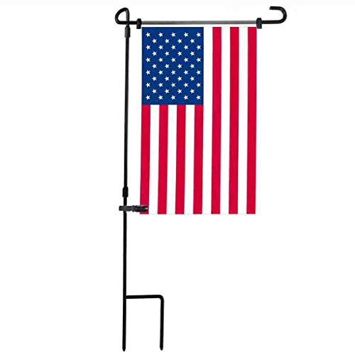 ❤️Ywoow❤️ Flag Post, Garden Iron Flag Pole Outdoor Yard Flags Stand Holder Banner Bracket Stoppers ()