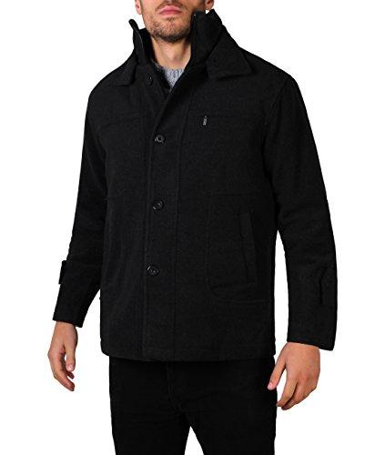 KRISP Parka Hombre Abrigo Negro Lana Chaqueta Elegante Clásico Tallas Grandes Negro