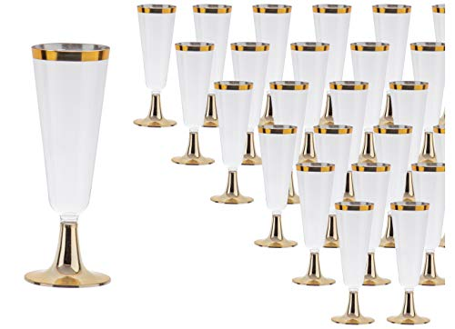 Gold Rimmed Plastic Champagne Flutes - 50-Pack Clear 5-Ounce Disposable Reusable Toasting Glass, Elegant Cups for Wedding, Birthday, Christmas, New Year, Holiday Party Supplies, 6.4 Inches Tall
