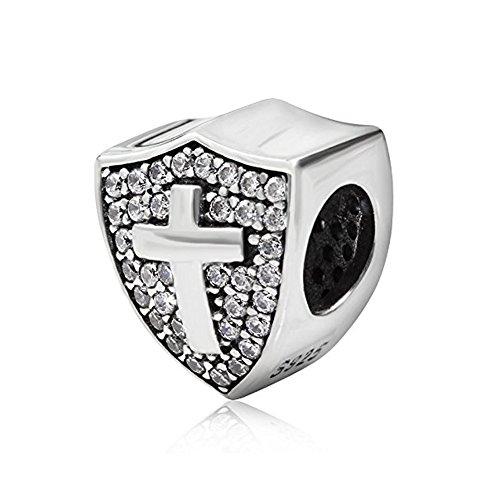 Shield Charm Cross Charm with Clear Cz 925 Sterling Silver Cross CHARM,Keep Faith Charm Bible Charm Beads