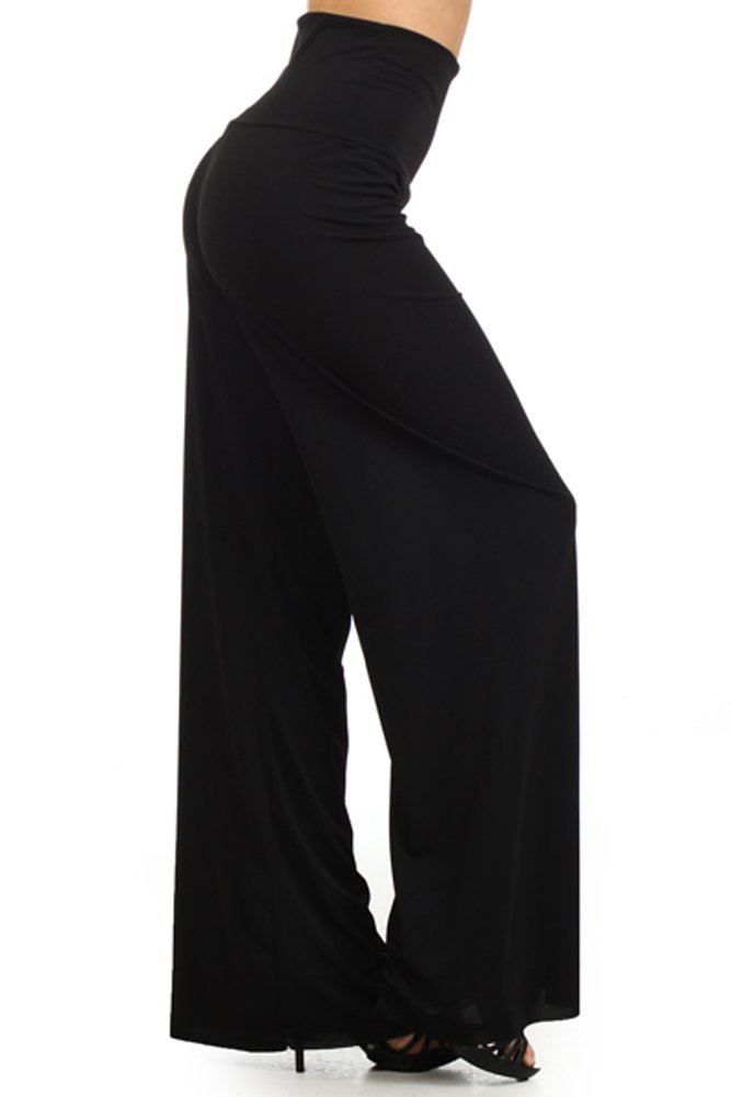 Fashiondio Women's Must Have Trendy Long Palazzo Pants (Large, BLACK SOLID)