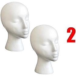 Mchoice 2PC Styrofoam Foam Mannequin Female Head Model Wig Glasses Hat Display Stand