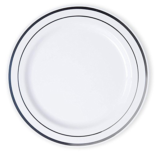 White China Plate - Disposable Party Plates (Pack Of 50): Hard Plastic Tableware, White Fancy China-Like Design With Elegant Silver Rim, Heavyweight Dinner Plates (10.5''), Wedding Dinnerwar