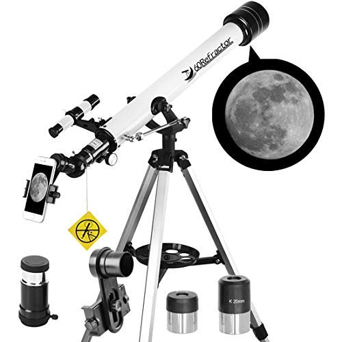 Telescope 60mm Apeture 700mm AZ Telescope - Refractor & Travel Scope for Beginners and Kids to Observe Moon and Planet with Tripod and 10mm Eyepiece Smartphone Adapter