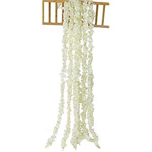 Anlise 4PCS 13 FT Artificial Silk Wisteria Cattleya Vine Hanging Hydrangea Garland Flowers for Wedding Party Home Garden Décor, Cream 16