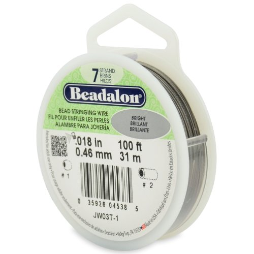 Beadalon JW03T-1 100-Feet 7-Strand Stainless Steel Bead Stringing Wire, 0.018-Inch, Bright