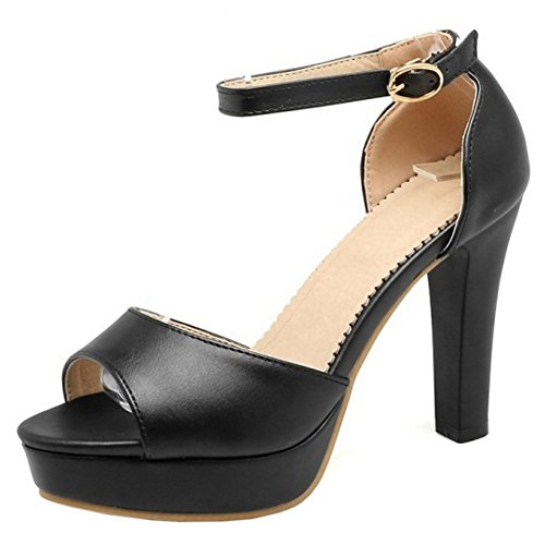 COOLCEPT Mujer Moda Al Tobillo Sandalias Peep Toe Tacon Ancho Plataforma Zapatos Negro