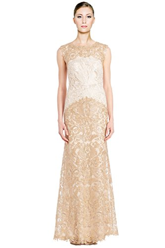 Tadashi Shoji Embroidered Corded Lace Long Evening Gown Dress
