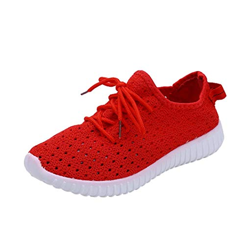 UOKNICE Clearance Women Outdoor Mesh Shoes Casual Lace up Flat Gym Comfortable Soles Running Sports Shoes(Red, CN 39(US 7)) -