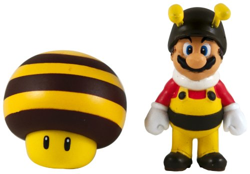Nintendo Super Mario Galaxy 2 - Mini Figurine 2 Pack - Bee Mario/Bee Mushroom - Super Mario Galaxy Mushrooms