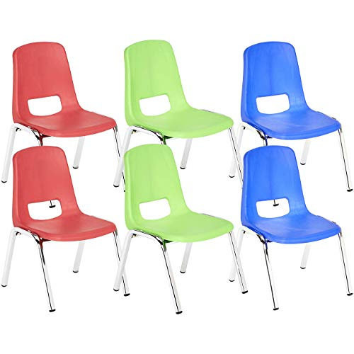 (AmazonBasics 10 Inch School Stack Chair, Chrome Legs, Assorted Colors,)