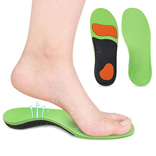 KuKiMa Velvet Sports Insole Net PU Arch Correction Full pad Breathable Shock Absorption Massage Suitable for Men&Women Pad High Shoe Insole Green(XL)