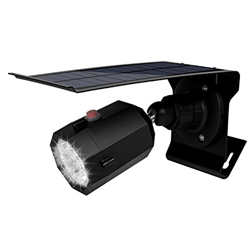 Fugetek Motion Sensor Light and Dummy Security Camera, Solar Powered, 3 Modes, IP65, Waterproof, 10 Bright LEDs, Black ()