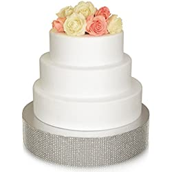 Bling Wedding Cake Stand, Cupcake Base, Dessert Serving Plate/Centerpiece (16'' Round, Silver)