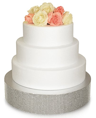 Bling Wedding Cake Stand, Cupcake Base, Dessert Serving Plate/Centerpiece (16'' Round, Silver) -