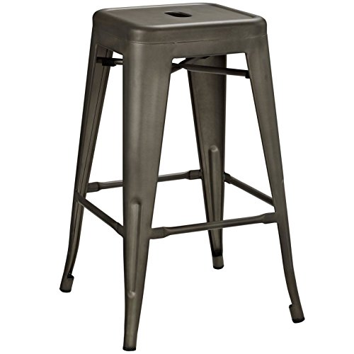 Modern Urban Industrial Distressed Antique Vintage Counter Stool Chair ( Set of 2), Brown, Metal by America Luxury - Stools (Image #2)