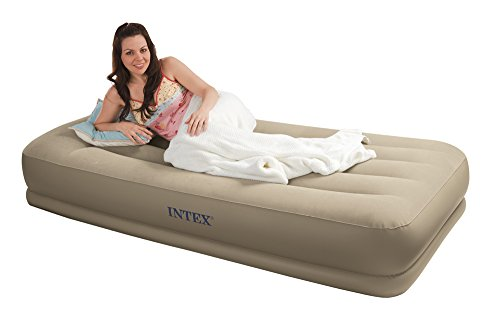 Intex Pillow Rest Mid-Rise Airbed with Built-in Pillow and Electric Pump, Twin, Bed Height 13 3/4