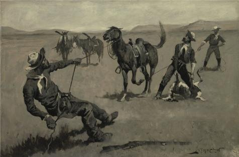 Oil Painting 'Frederic Remington,Teaching A Mustang Pony To Pack Dead Game,about 1890' Printing On Perfect Effect Canvas , 20x30 Inch / 51x77 Cm ,the Best Wall Art Artwork And Home ()