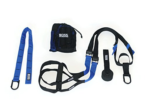 Boss Fitness Products – Suspension Fitness Trainer – Professional Grade – Premium Door Anchor – Extra Strength Carabiner – Extension Attachment Anchor – Free Mesh Bag (Blue)