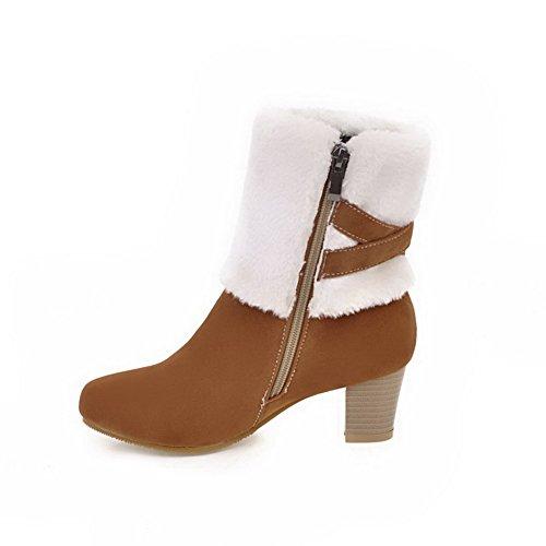 Calf ABL10671 Buckles Fringed Boots BalaMasa Metal Urethane Mid Womens Yellow xqFx8tX