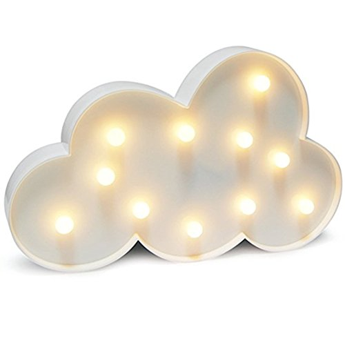 QiaoFei Cloud Night Light LED Marquee Sign-Baby Light-Battery Operated Nursery Lamp, Decorative Light for Kids Room/Party/Home/Wall Decor(White)
