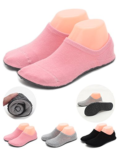 LANSA Women Slipper Socks Warm Thick Home Shoes Socks With Soles Rubber Bottom Non Slip Fun Wear Thin Pink