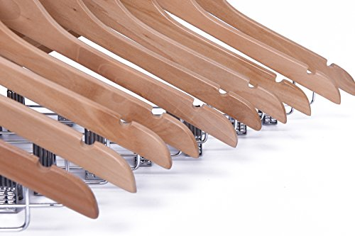 J.S. Hanger Solid Natural Finish Wooden Suit Hangers with Anti-rust Pant Clips, 20 Pack