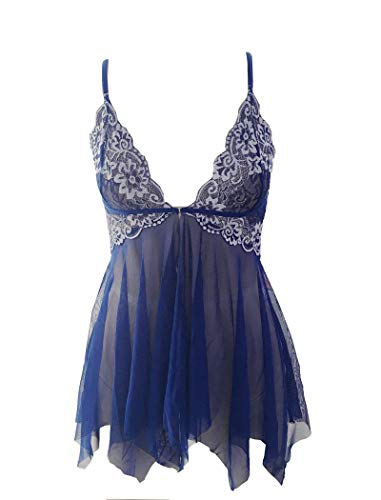 Avidlove Women Lingerie Set Lace Babydoll V Neck Nightwear Strap Chemise Blue L