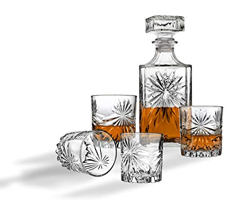 Whiskey Decanter And Glasses Bar Set, Includes Whisky Decanter And 4 Cocktail Glasses - 5 Piece Set