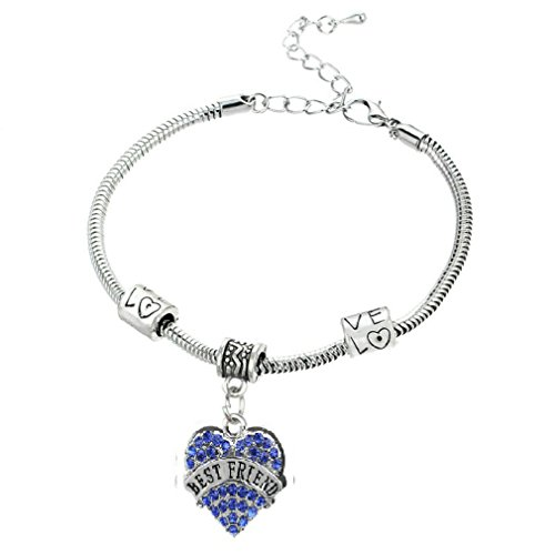 Bling Crystal Blue Zircon Pave Heart Love European Charm Bead Snake Chain Bracelet with Extender Gift for