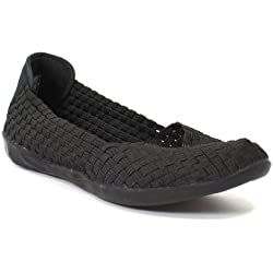 Bernie Mev Women's Braided Catwalk Flat, Black, 41 M EU